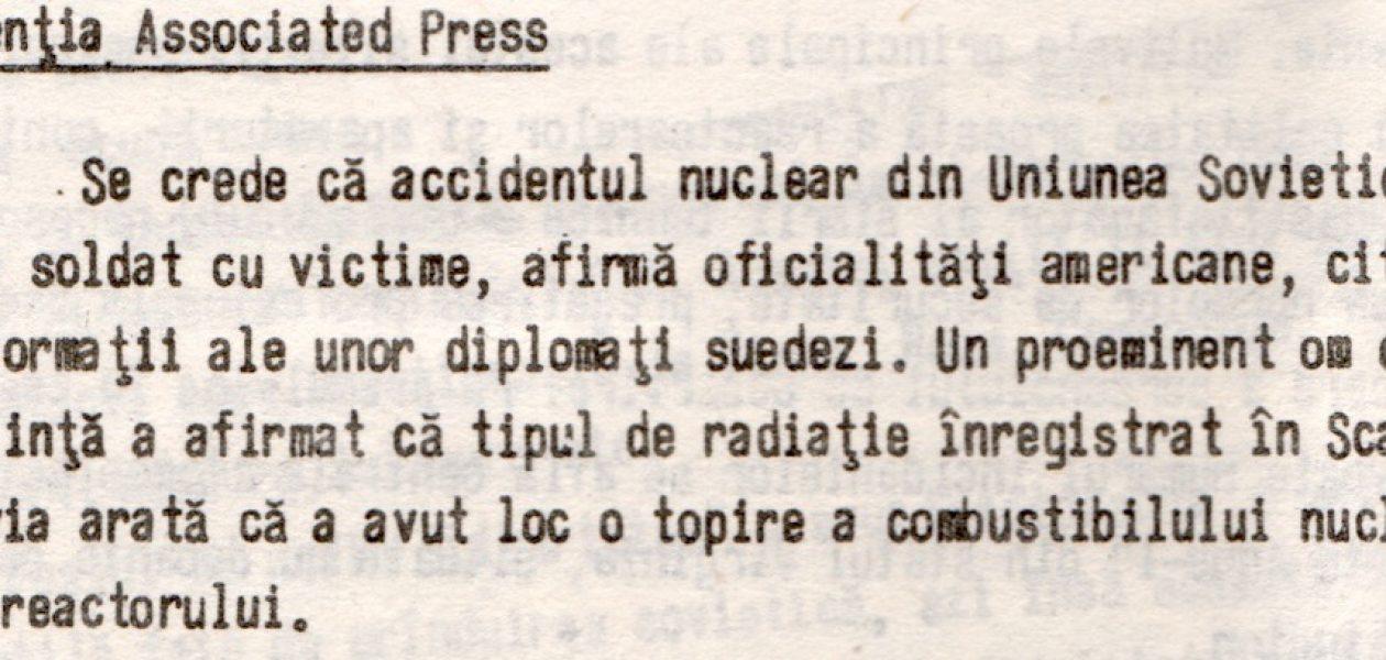 Informații pierdute pe drum – ce se știa despre Cernobîl, dar nu a ajuns în presa din România